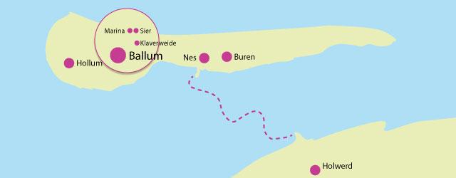 Locatie van de Vakantiehuizen op Ameland